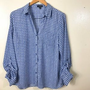 The Limited Women's Blouse Size L Blue White